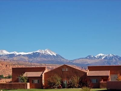 View of La Sal mountains from patio