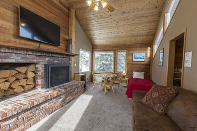 Living room, Fire place, TV, Twin Bed