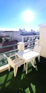 Photo for Downtown studio with beautiful terrace 150m from the beaches