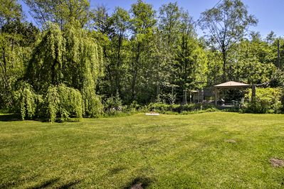 Spread out and enjoy the outdoors between several patios, a gazebo, and more.