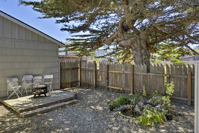 With newly landscaped grounds and ocean views, this home is an outdoor oasis.