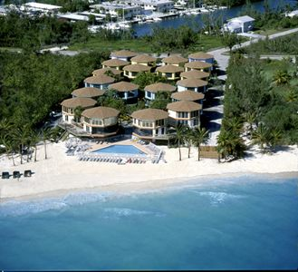 Arial photo of our property, the beach and pool