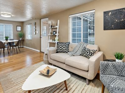 Photo for Mid-modern styled cottage *Dog friendly. 3 blks to River Waterpark/Greenbelt