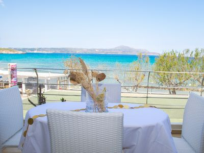 Photo for Fully Equipped Beachfront Apartment In Almirida For Up To 5 Persons.