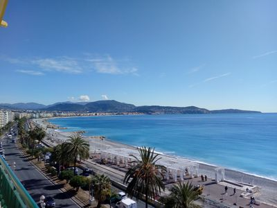 Photo for Nice amazing seaview, vue mer, Promenade des Anglais directly on the beach.