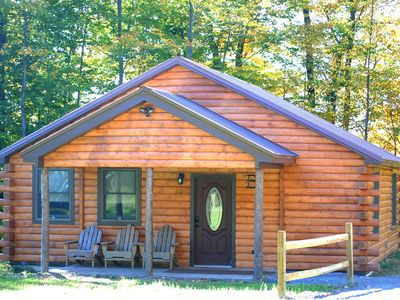 Photo for Rustic yet Modern Log Cabin, Cayuga Wine Trail, Dog Friendly, Open Year Round