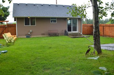 backyard, great for barbecuing, games, or relaxing