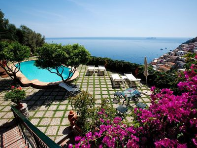 Photo for Historical villa on the Positano hill with swimming pool , two large terraces with sea views
