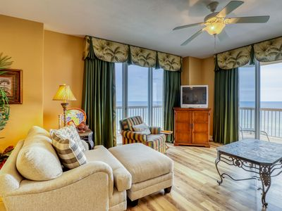 Photo for Gulf front condo with private balcony & beach views - pool, hot tub & gym!