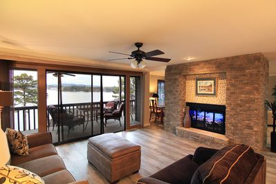 Living room looking out to Lake Hamilton.