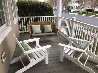 Front porch where you can have morning coffee or a glass of wine at sunset