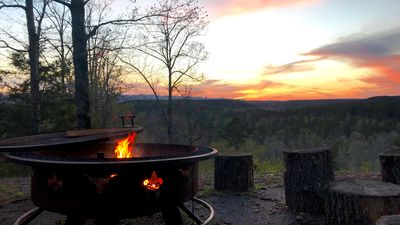 Mountain Vista Retreat-Issi is secluded, with sunset views of the Kiamichi Mnts.