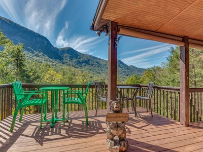 Photo for Romantic cabin with incredible mountain views and hot tub