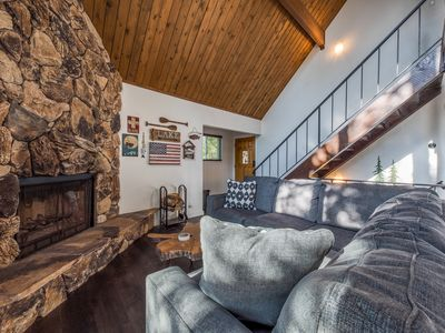 Photo for Mountain cabin w/ wood fireplace, private hot tub, & forest views - dogs welcome