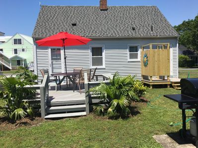 Fenced Back Yard With deck and New Outdoor Shower!