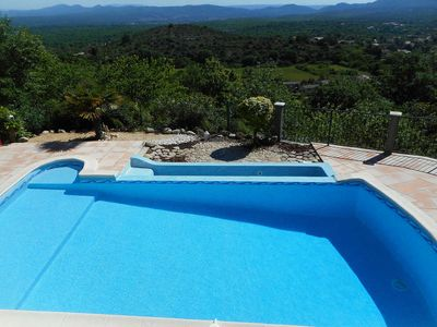 Photo for Holiday villa in Courry, Cévennes, view, heated pool, pets admitted