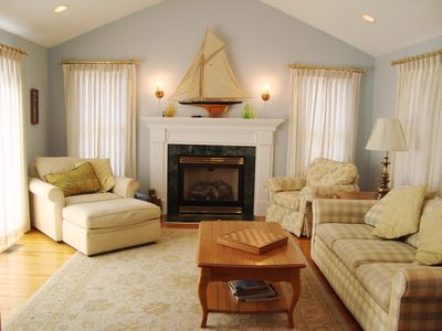 Living room with comfortable seating and Central air - 118 Deep Hole Road South Harwich Cape Cod New England Vacation Rentals