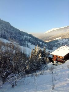 View from the balcony down to Le Grand Bornand (15 minute walk)