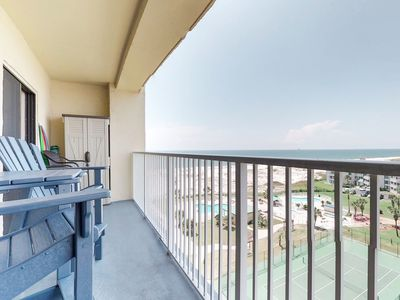 Photo for NEW LISTING! Upper-level condo w/ Gulf views, shared pool, hot tub, beach access