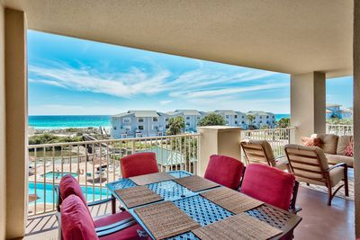 San Remo 309 large dining area - Enjoy the sights and sounds of the gulf from your spacious balcony