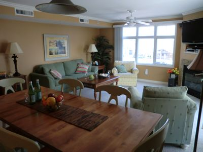 combined dining room/living room looking towards beach and boardwalk