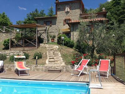 Photo for Panoramic villa for 8 people, 5 km from Arezzo. Enclosed swimming pool, Wi-Fi access, table football
