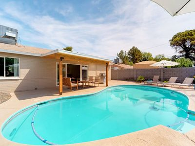 Photo for NEW LISTING! Dog-friendly, newly remodeled mid-century home w/pool, outdoor fire