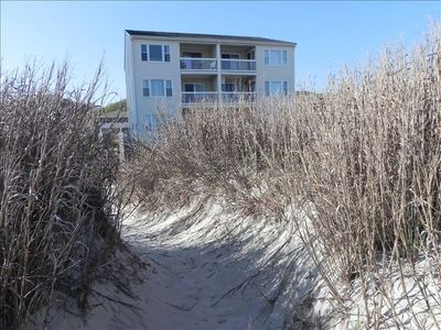 View of the building from the sand dunes