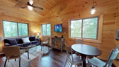 Photo for Firefly Cabin: Romantic getaway cabin with King bed & firepit
