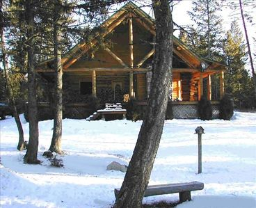 Photo for Custom Log Home on 10 Private Acres Quiet Peaceful Relaxing Close to Whitefish