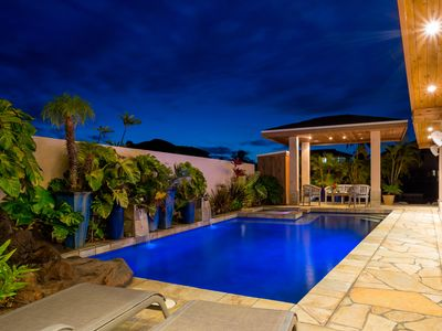 Secluded, Executive Waterfront home- lava waterfall, saltwater pool & spa!