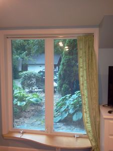 Living room view from full length window