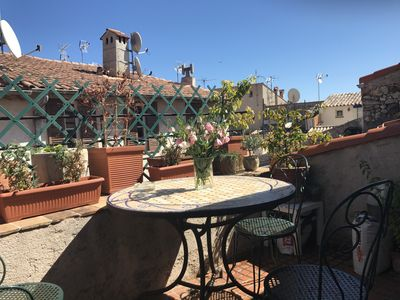 Photo for Duplex with terrace on the roofs of the old town, pedestrian street and flowers