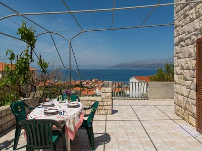Photo for One bedroom apartment with terrace and sea view Postira (Brač) (A-3065-b)