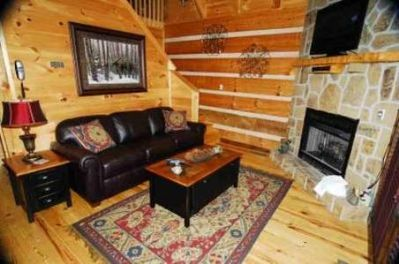 Living room with gas log fireplace