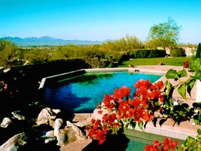View of Tucson Mountains and the Pool from the Jacuzzi