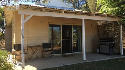 Front entrance to the rammed earth cottage