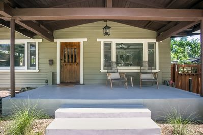 Inviting front sitting porch