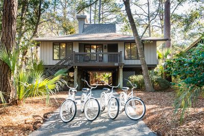 Front of Cottage with bikes