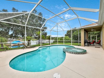 Photo for Dog-friendly, waterfront home w/ full kitchen, private pool, lanai, & dock