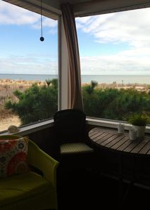 Panoramic ocean view from the screened porch.