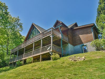 Photo for Sydney Falls Cabin - 5BR, Mountain Views, Creek with Waterfall, Trails & Hot Tub
