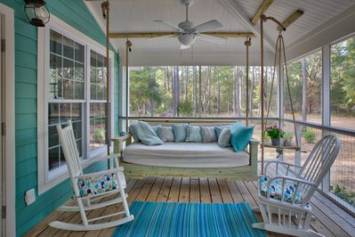 The Dreams porch! The swing bed will give you the best nap you've ever had!