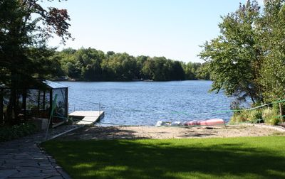 View of Beach, Dock and Lake fromLower Family walkout