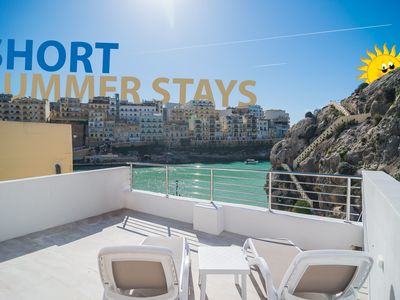 Photo for Nicolina - Sea Front Studio Apartment with Spacious Terrace in Xlendi Bay