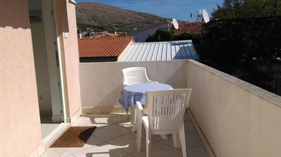 Photo for Studio flat with terrace and sea view Seget Vranjica, Trogir (AS-14409-b)