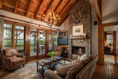 Great room with vaulted ceiling.