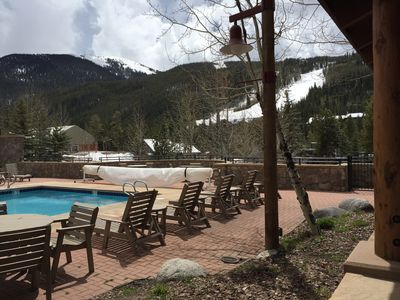 View from the patio to the ski slopes