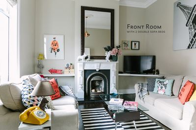 Front room with 2 double sofa beds