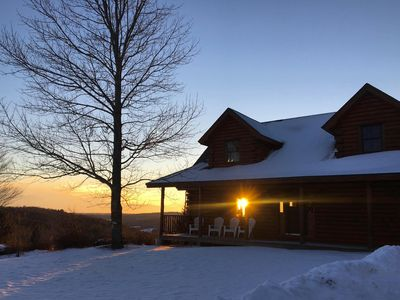 Photo for The MOST private, beautiful Log Home for up to 12 guests. 10 min to Dreams Park